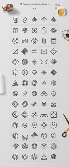 Geometric Logo Pack - A superb and professional collection of 235 Minimal Logo Templates and 320 Geometric Logo Marks created for beginner and expert Designers. It allows you to design a brand new logo in 3 minute using Photoshop or Illustrator. By Davide Graphisches Design, Icon Design, Design Elements, Symbol Design, Design Ideas, Design Patterns, Art Patterns, Boutique Logo, Logo Branding