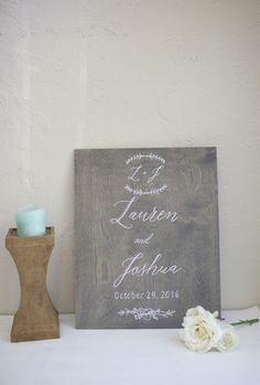 Graywash stained plywood welcome sign.  Wedding signage and home decor. Lovely personalized wedding, housewarming, anniversary, or holiday gift.