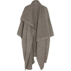 Stella McCartney Draped knitted blanket coat found on Polyvore featuring outerwear, coats, jackets, cardigans, tops, grey, drape coat, grey coat, gray coat en slim coat