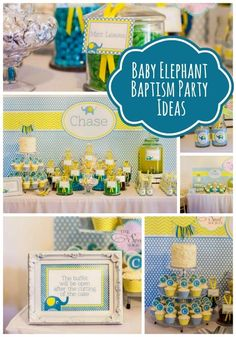 Baby christening parties elephant themed baptism for boys party idea boy favors Baptism Themes, Baptism Party, Baby Party, Baptism Ideas, Party Fun, Party Time, Baby Boy Christening, Baby Girl Baptism, Elephant Party