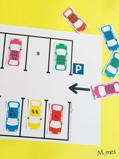A simple car game to learn to count from 1 to 10 by parking them sees . Preschool Math, Kindergarten Math, Learning Activities, Kids Learning, Activities For Kids, Learn To Count, Math Centers, Teaching, Games