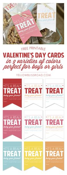 Free Printable Valentine Treat Cards for Boys or Girls in 9 Color Combos