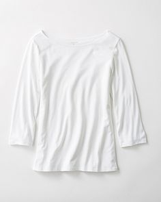 03c51e90a88 Pima Cotton   Modal Three-Quarter-Sleeve Boatneck Tee