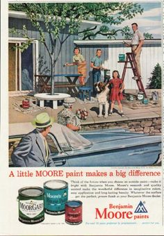 """1961 BENJAMIN MOORE vintage magazine advertisement """"A little MOORE paint"""" ~ A little MOORE paint makes a big difference. Think of the future when you choose an outside paint -- make it bright with Benjamin Moore.  Illustration by Stevan Dohanos. ~ Size: The dimensions of the half-page advertisement are approximately 8 inches x 10.25 inches (20.25 cm x 26 cm). Condition: This original vintage half-page advertisement is in Excellent Condition unless otherwise noted."""