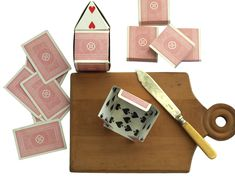 DIY Recycled Paper Project - folded decorative playing card house - full instructions