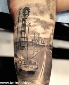 Road, Car and Motel in Landscape Tattoo - Love this.....not even sure why....apart from the fact that it's so well done. The whole scene has a great feel to it :)