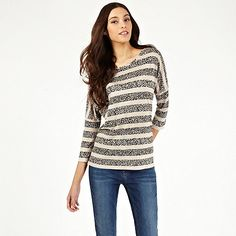 Oasis Animal Stripe Dolman Sleeve Tee- at Debenhams.com