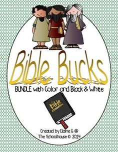 """This is a set of """"Bible Bucks"""".  These can be used for an incentive in any religious classroom, whether for Sunday School, VBS, religious education, or any Christian school.  They come in the values of $1, $2, $5, $10, $20, $50, $100, and $500.  There is 3 of each value per page."""