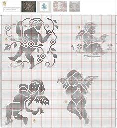 Cross Stitch Owl, Cross Stitch Angels, Cross Stitch Charts, Cross Stitching, Cross Stitch Embroidery, Cross Stitch Patterns, Crochet Patterns, Stitch And Angel, Crochet Angels