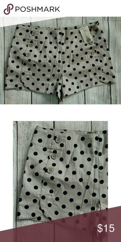"NWT F21 polka dot shorts. Size Medium New with tags. Scalloped hem. Zips up back. Waist 30"" Rise 11"" Inseam 2"" Forever 21 Shorts"