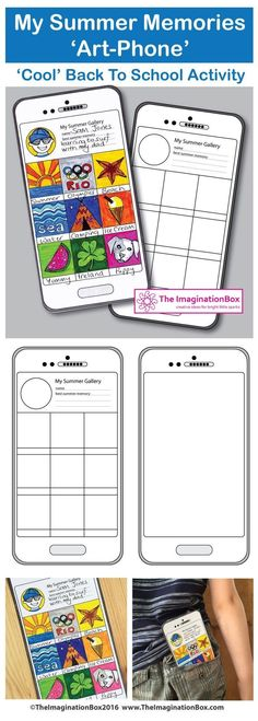Back To School Activities: My Summer Memories Art-Phone: A Back to school Art and Writing creative lesson. First Week Activities, Back To School Activities, Writing Activities, Activities For Kids, Back To School Art, Art School, School Style, Beginning Of The School Year, First Day Of School