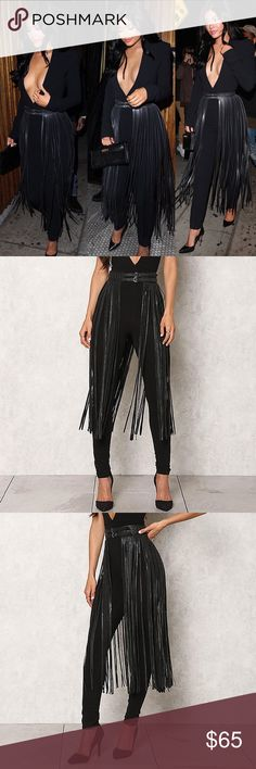 "Black Fringe Leatherette Belt As seen on Kylie Jenner. Approx. 32""L and up to 34"" waist. Fierce leatherette belt that can bring any outfit to life! Features a waist with a woven detail and two front buckles. Hangs loose with a fringe body. Boutique Accessories Belts"