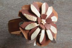 Upcycled leather floral bracelet by 1OakUp on Etsy