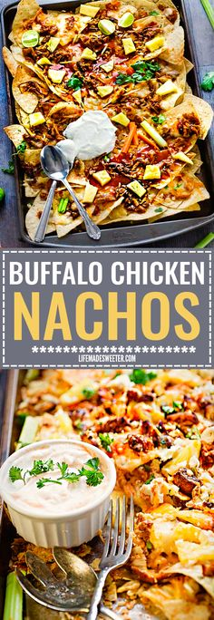 This recipe for Hawaiian Buffalo Chicken Nachos makes the perfect easy snack for game day or party! Best of of all, so easy to customize with your favorite toppings. Topped with Frank's hot sauce, gooey cheese, tender chicken and sweet pineapples! So delicious!