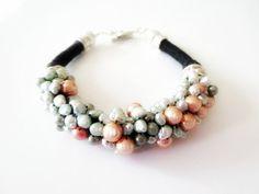 Perlen Armband, Leinen Armband, Perlmutt Nuggets Beads, schwarz Leinen Cord