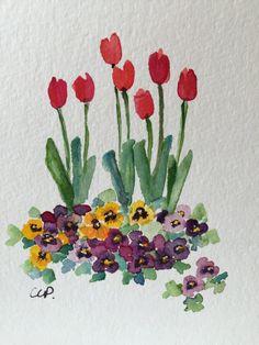 Spring Garden aquarelle carte / carte aquarelle peinte à la
