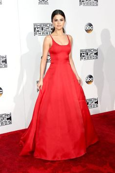 Selena Gomez in this red Prada gown is stunning.