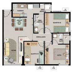 casa da caixa 3 quartos planta - Pesquisa Google