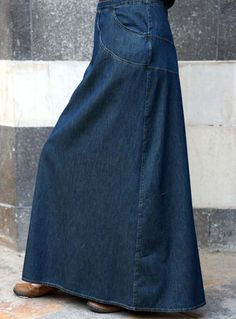 Gotta kick out of this skirt as well as the original pinners comment:    Love denim skirts- only for inside or under my abaaya, of course!