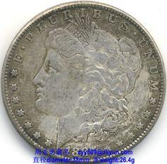 1887 Morgan Silver Dollar - Obverse Legends: Obverse: E·PLURIBUS·UNUM, 1887, Reverse: UNITED STATES OF AMERICA, ONE DOLLAR, In God we trust