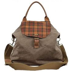 Canvas Backpack, Backpack Bags, Tote Bag, Canvas Leather, Leather Bag, Unique Purses, Leather Shoulder Bag, Purses And Bags, Plaid