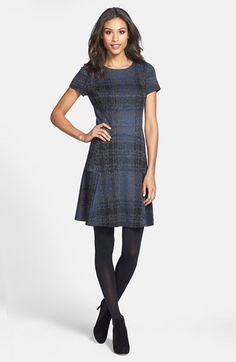 Betsey Johnson Plaid Fit Flare Sweater Dress Online Only Nordstrom Cute Fall