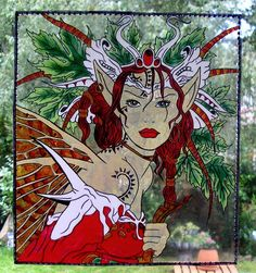 WICOART STICKER WINDOW COLOR CLING FAUX STAINED GLASS ELFE DES BOIS FOREST FAE