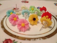 Daisy studs resin flower earring posts summer jewellery on Etsy, £2.50
