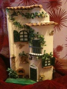 tegole decorate antiche - Cerca con Google Polymer Clay Ornaments, Polymer Clay Christmas, Polymer Clay Flowers, Handmade Polymer Clay, Miniature Rooms, Miniature Crafts, Miniature Fairy Gardens, Clay Houses, Ceramic Houses