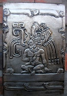 Warrior Mayan by CacaioTavares Aztec Pictures, Mayan Glyphs, Aluminum Foil Art, Aztec Tattoo Designs, Maya Civilization, Ancient Aztecs, Aztec Culture, Mexican Crafts, Coin Art