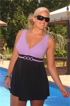 Women's Plus Size Swimwear - Always For Me In Control - Nautical Swimdress
