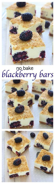 An elegant summer treat, these dreamy no bake blackberry bars are infused with fresh berry sweetness swirled with a velvety creamy filling.