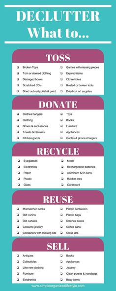 Declutter- What to toss, donate, recycle, reuse and sell [Infographic] How to declutter and organize, decluttering, decluttering home #declutter #homedecluttering