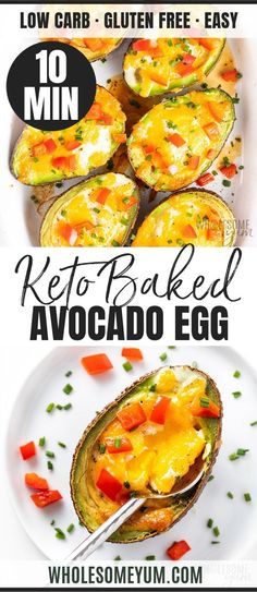 Baked Avocado Egg Recipe (Egg Stuffed Avocado) – Baked avocado egg boats (egg stuffed avocado) are a DELICIOUS way to start your day. This baked avocado and egg recipe is good for you and FAST! Source by wholesomeyum Lunch Recipes, Real Food Recipes, Breakfast Recipes, Healthy Recipes, Healthy Nutrition, Meat Recipes, Breakfast Ideas, Healthy Meals, Healthy Food