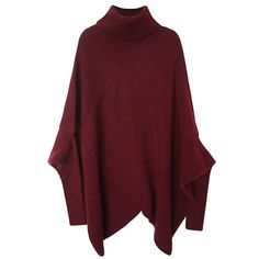 Dark Red Knitted Turtleneck Poncho Sweater found on Polyvore featuring tops, sweaters, cape, red, turtle neck poncho, dark red sweater, red top, red turtleneck and turtleneck tops