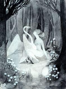 Leda and the swan by Isabella Mazzanti aka Isa Bancewicz Art Mignon, Art Graphique, Beautiful Drawings, Children's Book Illustration, Art Design, Looks Cool, Oeuvre D'art, Cute Art, Mythology