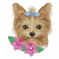 Flower Yorkie embroidery design