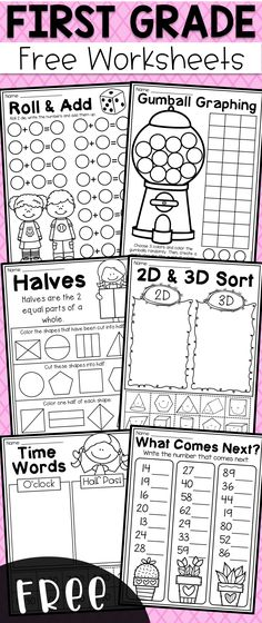 Free first grade math worksheets. It provides students with practice in addition, place value, & shapes, data/graphing, fractions and time. math Free First Grade Math Worksheets First Grade Math Worksheets, Teaching First Grade, First Grade Classroom, Math Classroom, Teaching Math, Free Worksheets, Printable Worksheets, First Grade Maths, Math For Grade 1