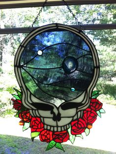 grateful dead  space your face with geode by samsarastainedglass, $249.99