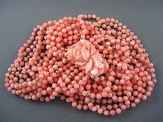 FINEST! Vintage 6X Strand Genuine Salmon Coral Bead Necklace 14K Carved Clasp