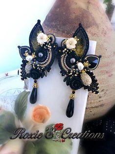 Soutache Earrings, Leaf Earrings, Dangle Earrings, Bead Embroidery Jewelry, Beaded Embroidery, Shibori, Black Earrings, Statement Jewelry, Swarovski Crystals