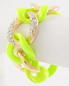 Bright Idea Neon Yellow and Gold Chain Statement Bracelet $32 #statementjewelry #jewellery #jewlry