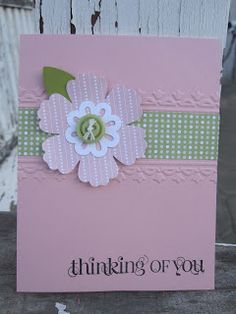 mostly pink card with a clean design and a sweet punched flower...delicately delightful!!