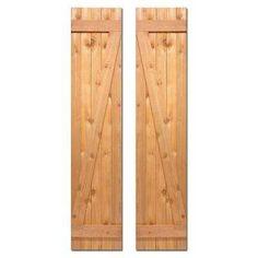 15 in. x 80 in. Board-N-Batten Baton Z Shutters Pair Natural Cedar