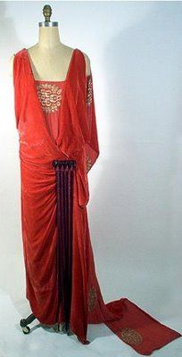 Red velvet evening gown by Harry Collins, ca. 1923.