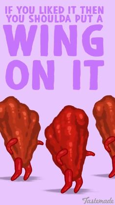 'if you like it then you shoulda put a wing on it' Corny Puns, Funny Food Puns, Cute Puns, Puns Jokes, Food Humor, Food Jokes, Silly Jokes, Cartoon Chicken, Funny Comic Strips