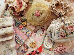 What a beautiful mess!!!  Ribbon work, silk ribbons, lace...