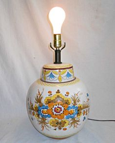Vintage Pottery Lamp Italy Italian Ceramic Handpainted Huge Flowers Orange  Gold #madeinItaly