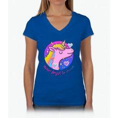 Never Forget To Dream Unicorn Womens V-Neck T-Shirt