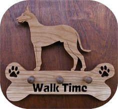 "Great Dane ""Walk Time"" Leash Holder 3 Peg Cut On Scroll Saw"